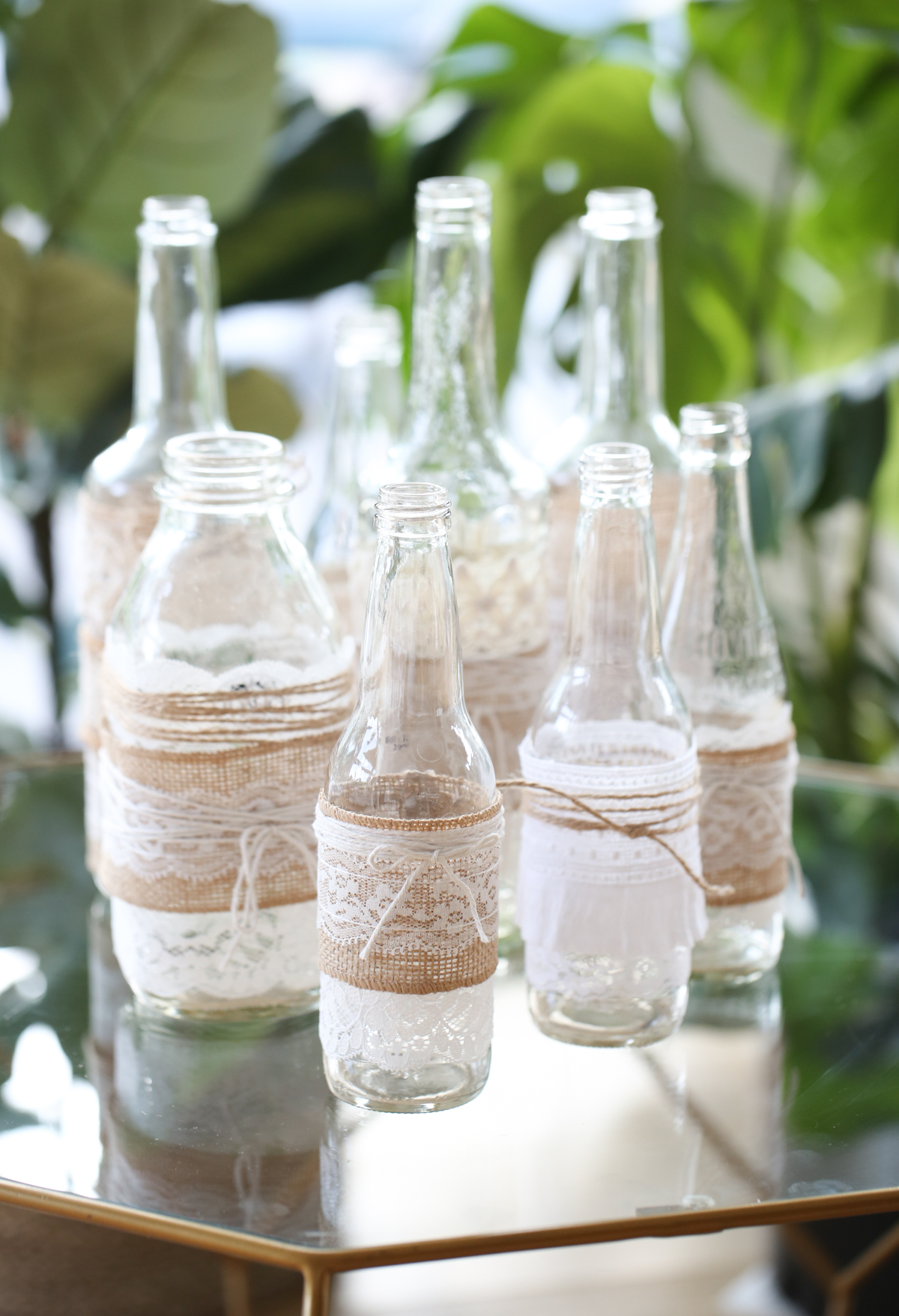 boho twine and lace vases