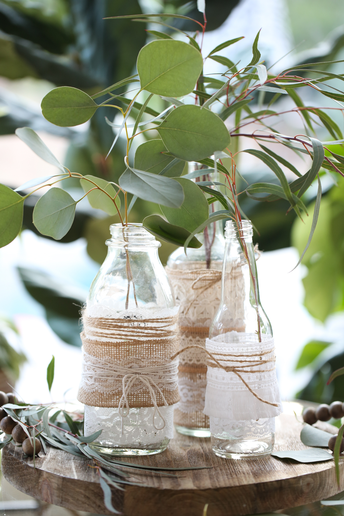 lace covered glass bottles