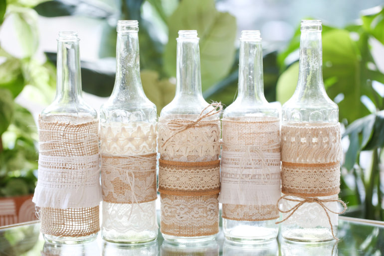 Lace and Burlap Bottles