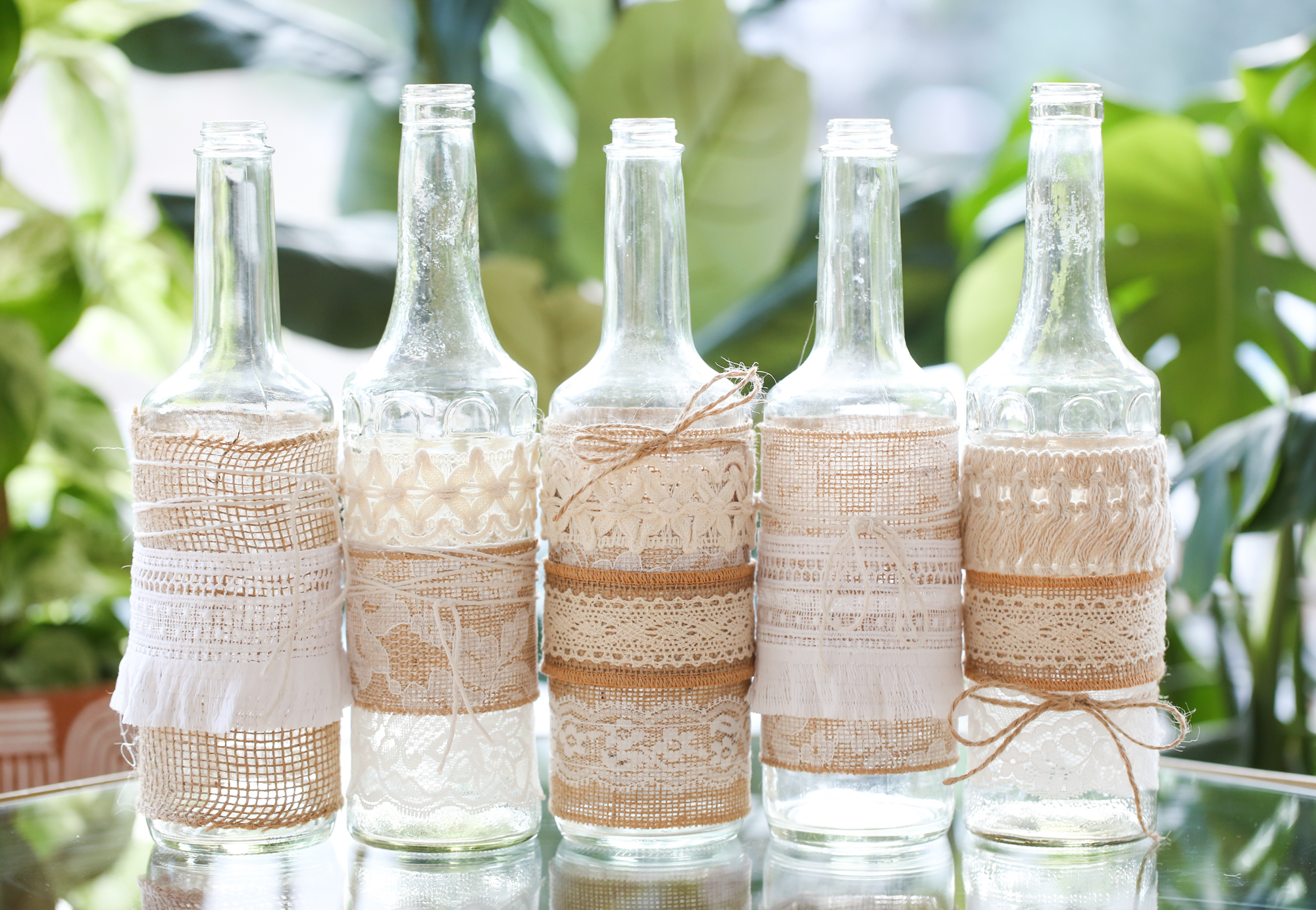 DIY Boho Lace and Burlap Bottle Vases
